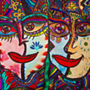 Colorful Faces Gazing - Ink Abstract Faces Poster