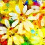 Colorful Floral Abstract - Digital Paint Poster