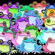 Colorful Frogs Poster