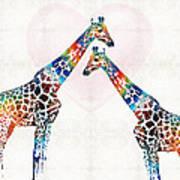 Colorful Giraffe Art - I've Got Your Back - By Sharon Cummings Poster