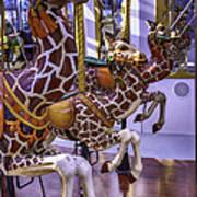 Colorful Giraffes Carrousel Poster