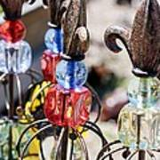 Colorful Glass And Metal Garden Ornaments Poster