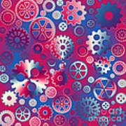 Colorful Metallic Gears Poster by Gaspar Avila