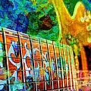 Colorful Music Digital Guitar Art By Steven Langston Poster