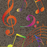 Colorful Musical Notes On Textured Background Illustration Poster