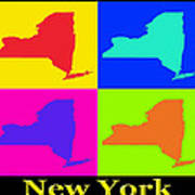 Colorful New York State Pop Art Map Poster