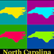 Colorful North Carolina Pop Art Map Poster