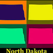 Colorful North Dakota Pop Art Map Poster