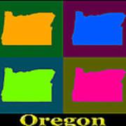 Colorful Oregon Pop Art Map Poster