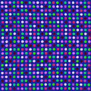 Colorful Polka Dots On Blue Fabric Background Poster