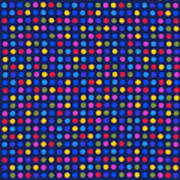 Colorful Polka Dots On Dark Blue Fabric Background Poster