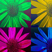 Colorful Pop Art Flowers Poster