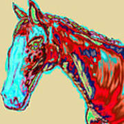 Colorful Race Horse Poster