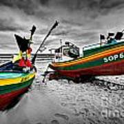 Colorful Retro Ship Boats On The Beach Poster