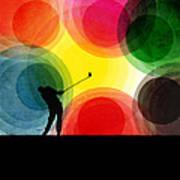 Colorful Retro Silhouette Golfer Poster