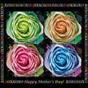 Colorful Rose Spirals Happy Mothers Day Hugs And Kissed Poster