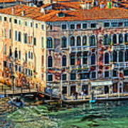 Colorful Rotten Palace In Venice Italy  Poster