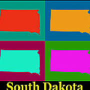 Colorful South Dakota Pop Art Map Poster