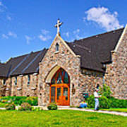 Colorful Stone Catholic Church In North Bay Of Lake Nipissing-on Poster