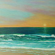 Colorful Sunset Beach Paintings Poster