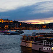Colorful Sunset In Budapest With A Panoramic View Of The River D Poster