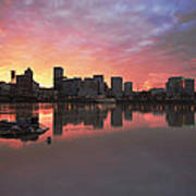 Colorful Sunset Over Portland Downtown Waterfront Poster