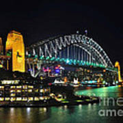 Colorful Sydney Harbour Bridge By Night 3 Poster