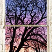 Colorful Tree White Farm House Window Portrait View Poster