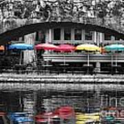 Colorful Umbrellas Reflected In Riverwalk Under Foot Bridge San Antonio Texas Color Splash Digital Poster