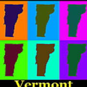 Colorful Vermont Pop Art Map Poster