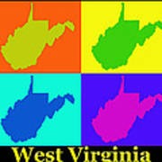 Colorful West Virginia Pop Art Map Poster