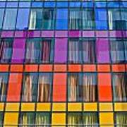 Colorful Windows On Modern Apartment Block Poster