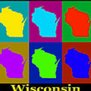 Colorful Wisconsin Pop Art Map Poster