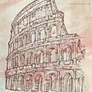 Colosseum Hand Draw Poster