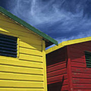 Coloured Beach Huts Poster