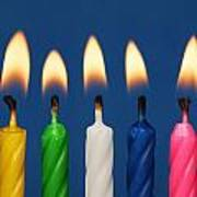 Colourful Candles Lit Poster