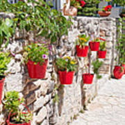 Colourful Flower Pots Poster