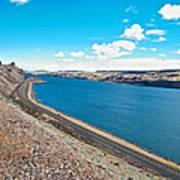 Columbia River Rolls On Between Oregon And Washington  Poster