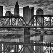 Columbus Ohio Downtown Bw Poster