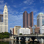 Columbus Ohio Skyline From Scioto River Poster