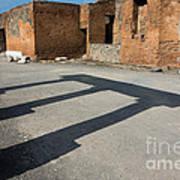 Column Shadows Forum At Pompeii Italy Poster