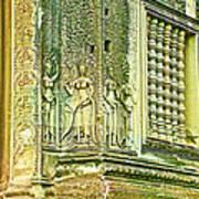 Columns And Hindu Devatas At Angkor Wat In Angkor Wat Archeological Park Near Siem Reap-cambodia Poster