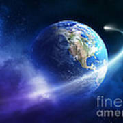 Comet Moving Passing Planet Earth Poster