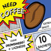 Comic Stripes Of Coffee Drink Poster