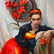 Common Threads - Divine Feminine In Silk Red Dress Poster by Talya Johnson