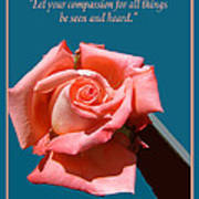 Compassionate Heart Rose Poster