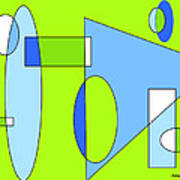 Composition In Chartreuse And Blue Poster