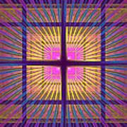 Computer Generated Fractal Squares Geometric Pattern Poster