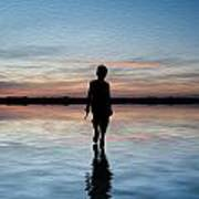 Concept Image Of Young Boy Walking On Water In Sunset Landscape Digital Painting Poster by Matthew Gibson