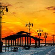 Coney Island Winter Sunset Poster
